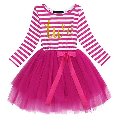 gs kleinkind Baby Mädchen Ist es Mein 1. / 2. / 3. Geburtstags Gestreiften Tüll Tütü Prinzessin Kleid mit Bowknot Partykleid Fotoshooting Outfits Kostüm Rose (Baby Halloween-kostüme Muster)