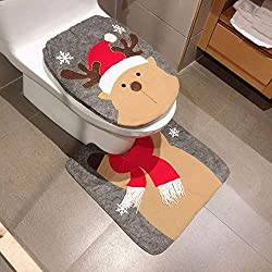 EisEyen Weihnachtsdeko Weihnachtsdekoration WC Sitz Cover Toiletten Sitzbezug Teppich Kreativ Festival Ornament Home Badezimmer Verziert Toilet Seat Cover