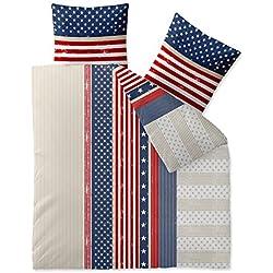 CelinaTex Bettwäsche 3tlg 200x220 Baumwolle Set Kopfkissen Bettbezug Reißverschluss atmungsaktiv Bett Garnitur 80x80 Kissen Bezug 5000428 Fashion America weiß blau rot