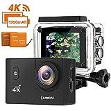 CAMKONG 4K Action Cam WIFI Sport Camera con Custodia Impermeabile 20 MP 170° Grandangolare 2.0 Pollici due 1350mAh Batterie