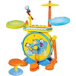 2-en-1 Los niños del instrumento musical Set De Bateria Electronica Infantil Kid w / teclado de piano y el micrófono y las heces