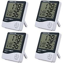 Rhinoco 4 Piezas Digital Medidor Termómetro Higrómetro LCD con Reloj de Alarma Monitor de Humedad de