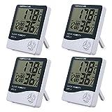4 Stücke LCD Digital Hygrometer Thermometer Innenfeuchtigkeitsüberwachung Temperatur Temperatursensor Temperaturmesser Feuchtigkeitsanzeiger mit Datum Uhrzeit Alarm Wecker Hygrometer und Halterung