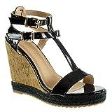 Angkorly - Damen Schuhe Espadrilles Sandalen - Plateauschuhe - T-Spange - Seil - Kork - String Tanga Keilabsatz high Heel 12 cm - Schwarz 628-109 T 40