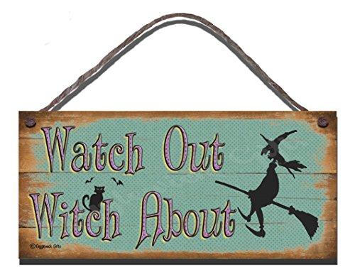Halloween Funny Schild Geburtstag Shabby Chic Holzschild Watch Out Hexe über - über Halloween Gott