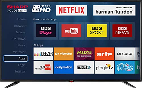 Sharp LC-55UI7352K 4K Ultra HD Smart 55-inch TV with Freeview HD (2018 model), Black (Renewed)