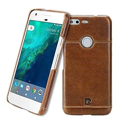 Google Pixel Case, Pierre Cardin Premium Luxurious Slim Italian Genuine Cow Leather Hard Back Cover Back Case for Google Pixel (2016), Brown