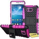 Samsung Galaxy Alpha Funda, FoneExpert® Heavy Duty silicona híbrida con soporte Cáscara de Cubierta Protectora de Doble Capa Funda Caso para Samsung Galaxy Alpha SM-G850 G850F + Protector Pantalla (Rosa)