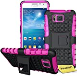 Samsung Galaxy Alpha Handy Tasche, FoneExpert® Hülle Abdeckung Cover schutzhülle Tough Strong Rugged Shock Proof Heavy Duty Case für Samsung Galaxy Alpha + Displayschutzfolie (Rosa)