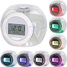 TRIXES Despertador Digital con 7 colores LED Cambiantes y 6 Sonidos de Campo y Naturaleza