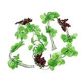 sourcingmap® 5 Stück Emulational grünes Blatt Lila Trauben Frucht Hänge Vine 7.2Ft Länge
