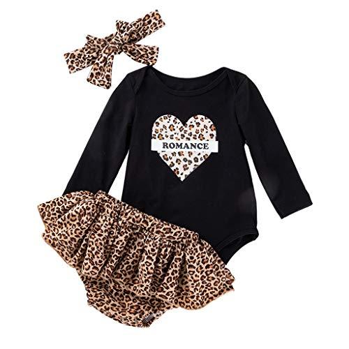 Kleinkind Baby Mädchen Neugeborene Leopard Liebe Langarm PP Hosen Haarband Sets (Leder Jacke Teddy Bär)