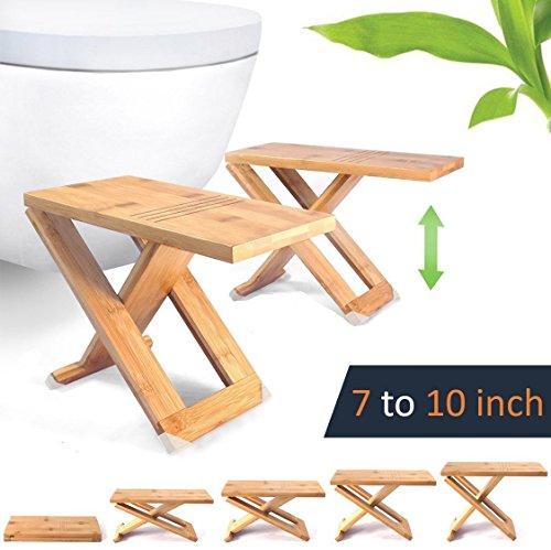 RELAXX Squatty Toilettenhocker WC Hocker - verstellbar bis 17, 19, 22 und 25 cm - Bambus holz - Faltbar und Tragbar - effektiv gegen Hämorrhoiden, Verstopfung, Reizdarm (2 Stück)