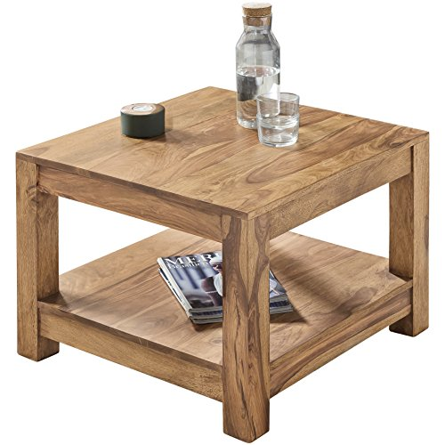 Wohnling Table basse en bois massif d'Acacia 60 x 60 cm Table de salon design/marron foncé style maison de campagne Table d'appoint naturel Produit de salon meubles unique moderne Massivholzmöbel rectangulaire en bois véritable