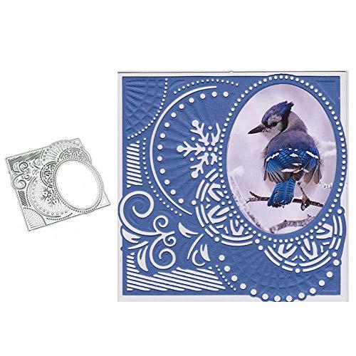 Ovale Metall-schimmel (Luo-401XX Metall Stanzformen, Oval Frame Lace Prägeschablone Für Album Scrapbooking Papier Karte Art Craft Silber)