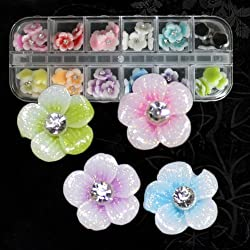 350buy 12 Colors 3D Acrylic Flowers 10mm with Glitter Coating for Nail Art Decoration