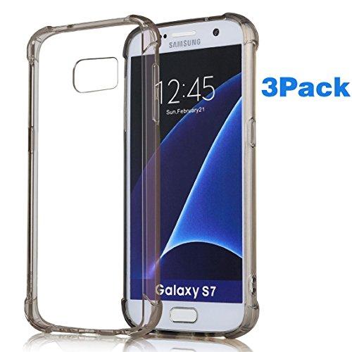 Klar, Bulb Cover (1Pack, Galaxy S7Schutzhülle, ibarbe Slim Klar Cover Crystal Clear belastbar Stoßdämpfung Bumper Soft TPU Cover Case für Samsung Galaxy S7sm-g930, 3p Gray-Corner-Case)