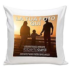 Idea Regalo - Cuscino Personalizzato con Foto 40 x 40 cm 100% Poliestere Stampato Idea Regalo per ogni occasione - Bianco, 40x40 cm - Con Imbottitura