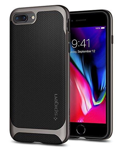 Coque iPhone 8 Plus, Coque iPhone 7 Plus / 8 Plus, Spigen® [Neo Hybrid Herringbone] PREMIUM BUMPER [Gunmetal] Bumper Style Premium Case Slim Fit Dual Layer Protective Coque Pour iPhone 7 Plus / 8 Plus NHH Gunmetal
