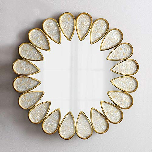 Runde hängende Spiegel Beauty Mirror große europäische Lichtkunst dekorative Spiegel für Wohnzimmer (Farbe: Massivholz)