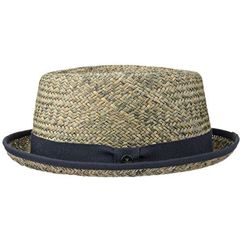 Lierys Janson Porkpie Raffia Strohhut Damen/Herren - Sonnenhut Made in Italy - Hut aus Stroh (Raffiastroh) - Strandhut Frühjahr/Sommer - Raffiahut blau L (57-58 cm)