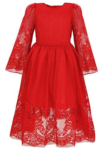 Bonny Billy Mädchen Kleider Vintage Spitze Tüll Hochzeit Festlich Party Langarm Elegant Weihnachten Kleid 5-6 Jahre/110-116 Rot