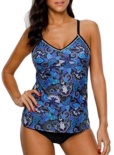 BeautyIn Damen Sportlich Tankini Top Cashew-Blumen Bikini Sets Zwei Stück Beachwear Gepolstert Badeanzug M
