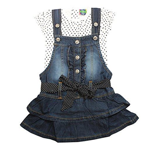 Kiddie Clap Girls' Denim Dungaree Dress With T-Shirt Set(Dark Blue)