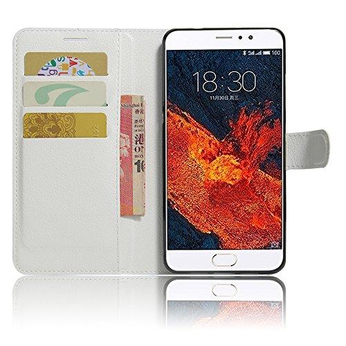 GARITANE Meizu Pro 6 Plus Hülle Case Brieftasche mit Kartenfächer Handyhülle Schutzhülle Lederhülle Standerfunktion Magnet für Meizu Pro 6 Plus (Weiß)