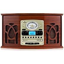 auna NR-620 Impianto stereo giradischi con lettore MP3, telecomando, USB/SD, Ricezione FM / AM, Altoparlanti stereo, Marrone, Legno