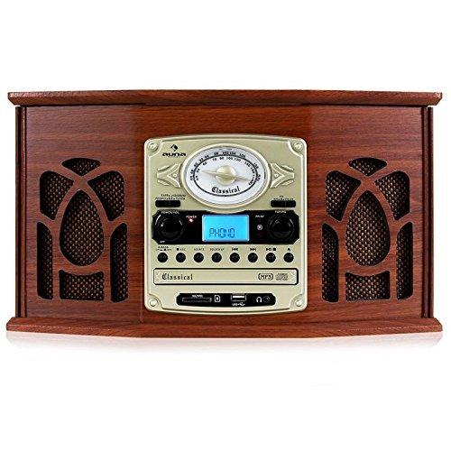 auna • NR-620 • stile retrò • lettore giradischi • stereo • cinghia • max. 45 giri/min • Radio • Ricezione FM/AM • Display a banda di frequenza • Altoparlanti stereo • USB/SD • Cassette • marrone