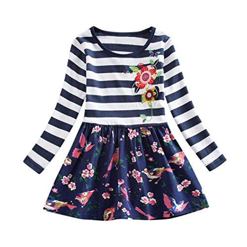 OverDose Nettes Kleinkind Baby Kind Blumen Druck Stickerei-Prinzessin Party Kleid Bluse Dress Langarm T-shirts Party Kleid Mini Kleid (2T,B-Mehrfarbig) (Shirt 2t 2)