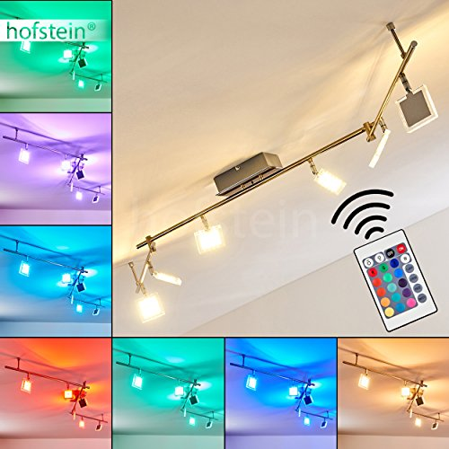 LED Deckenstrahler Parnu - Deckenlampe 6 flammig mit verstellbaren Köpfen - mit Fernbedienung und RGB Farbwechsler - 1920 Lumen - 3000 Kelvin RGB zuschaltbar - Deckenlampe mit tollen Farben