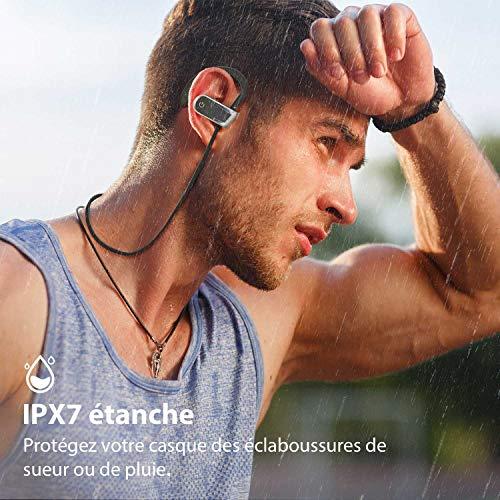 Voberry Écouteurs Bluetooth Sport, Casque Bluetooth Casque de Sport Casque sans Fil étanche IPX7 9 Heures de Lecture, Microphone intégré avec Son stéréo, Casque CVC 6.0 avec atténuation du Bruit