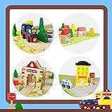 Akokie Trenino Legno Pista Ferrovia Gioco in Legno Rotaie Blocchi Forme Geometriche per Bambini 3 4 5, 54 Pezzi