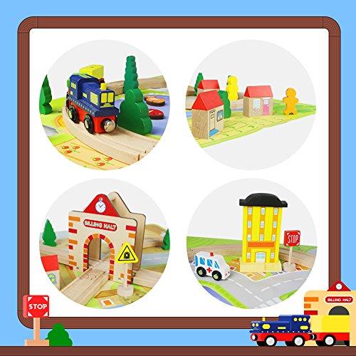Train Bois Circuit Assemblage Jouet Rail Locomotive Voiture Chemin de Fer avec Tapis pour Enfant 3+ Ans (54 Pièces)