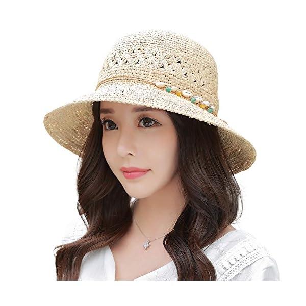 Leisial /Él/égant Femmes Chapeau de Paille Beach Hat Chapeau de Soleil Chapeau de Plat Anti-Soleil Respirant Anti-UV Chapeau de Soleil pour /ét/é Plage Loisir Voyage