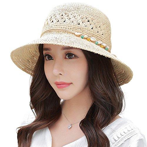 SIGGI Stroh faltbare beige Sonnenhüte mit Sonnen Shade Strand 100% Raffia Stroh breite Krempe Damen (Hut Raffia Damen)