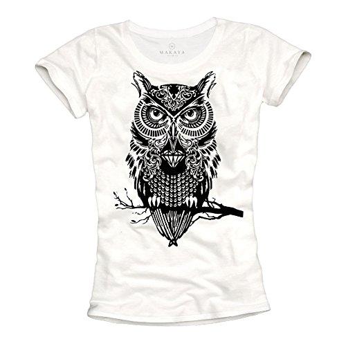 T-Shirt für Damen mit ausgefallener Eule Aufdruck schwarz/weiß Größe S