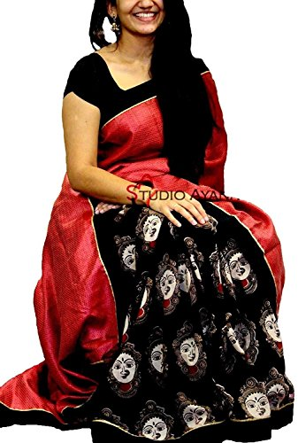 PRAMUKH STORE Durga Black Sarees (for Women Party Wear offer Designer Sarees...