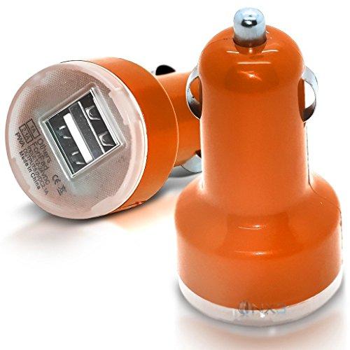 (Orange) ZTE Blade L5 Plus Hülle Abdeckung Cover Case schutzhülle Tasche Im Auto Dual Port 2.1 Amp Kugel USB-Ladegerät-Adapter ONX3® - Screen Touch Hp Ladegerät