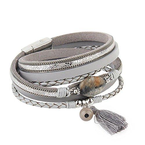 YIBEN Quaste Armband Personalisierte Multi-Layer-Europäische und Amerikanische Art und Weise Wilden Weiblichen Lederarmband Achat Schmuck, E