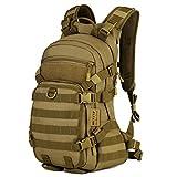 Huntvp® Taktisch Rucksack 25L MOLLE Fahrradrucksack Armee Style Backpack Unisex Daypack Wasserdicht Trinkrucksack für Outdoor Aktivitäten Schwarz Braun