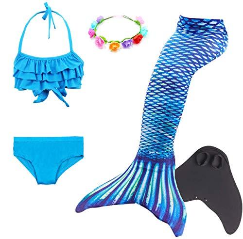 jungfrauen Schwanz Flosse zum Schwimmen Schwimmanzug Badeanzug Prinzessin Cosplay Kostüm Meerjungfrauenschwanz für Kinder Bademode Tankini Bikini Set Monoflosse Blumenkranz 5pcs ()