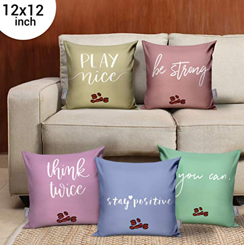 TIED RIBBONS Set of 5 Printed Decorative Cushion Covers 12 Inch X 12 Inch for Coffee Chair, Sofa, Bedroom, Living Room and Gifting(Multicolor)