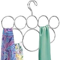 InterDesign Classico cintre foulard avec 8 boucles, rangement suspendu en métal pour écharpes, cravates, ceintures, pashminas, etc., argenté