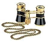 Eschenbach Optik glamour 3x25 Opernglas mit Kette, einfache Bedienung, leicht, handlich, schwarz-gold