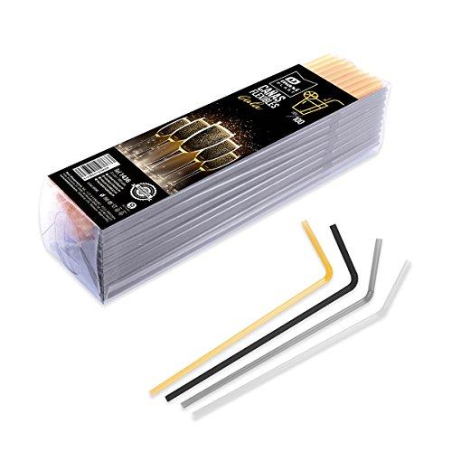 pailles flexibles en plastique pour les fêtes et célébrations - couleurs argent, noir et blanc - 100 unités.
