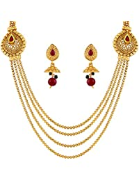 Asmitta Traditional Pear Shape Gold Plated Matinee Style 4 String Necklace Set For Women