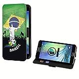 deinPhone Samsung Galaxy S5 Mini Kunstleder Flip Case Fußball Brasilien Statue